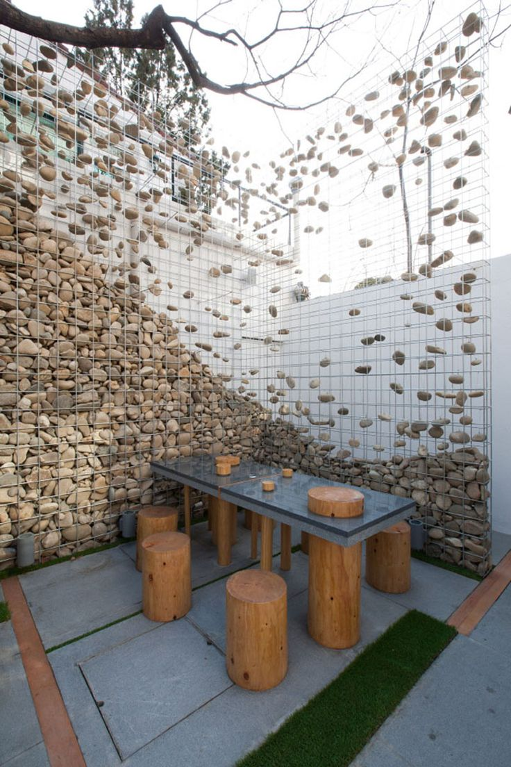 Suspended rocks gabion wall, Cafe Ato by Design BONO  (4) Seoul