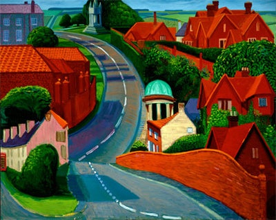 The Road to York through Sledmere, 1997 oil on canvas, by David Hockney.