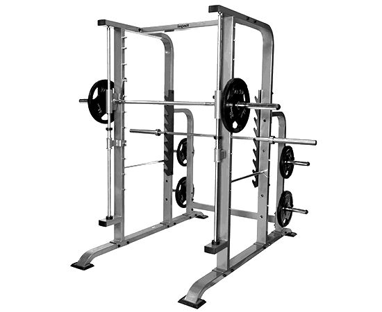 Smith-Machine  Description: A squat assisting workout machine. Think of it as the squat rack that helps you when you don't have anyone to spot you. Very good machine to use for practicing your squatting form. A go to machine for back strengthening after an injury of sort.