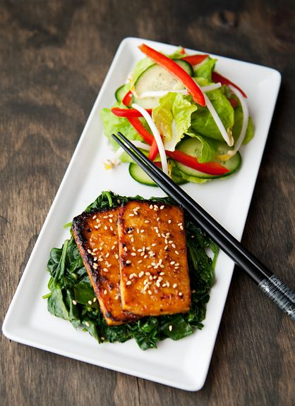 Maple Miso Tofu. INGREDIENTS: vegetable oil for brushing the parchment paper, 1/4 cup (3 1/2 oz. or 100 g) maple syrup, 1/4 cup (2 3/4 oz. or 75 g) white miso paste, 2 tbsps soy sauce, 1 tsp chile sauce (sambal oelek), 2 tbsps unseasoned rice vinegar, 14 oz. firm tofu