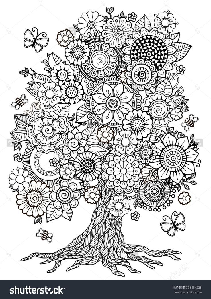 Blossom Tree. Coloring Book For Adult. Doodles For Meditation. Raster copy