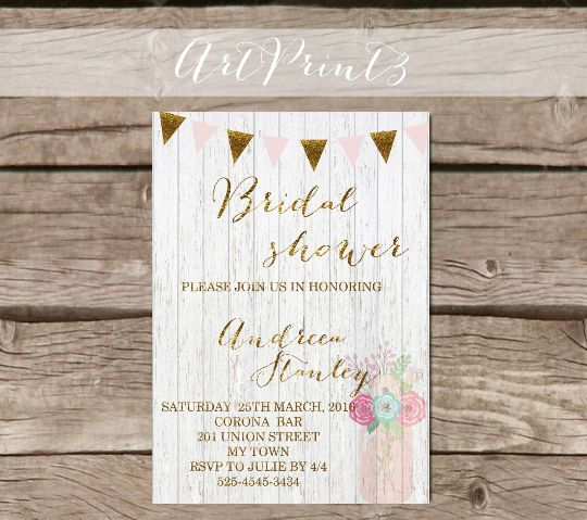 Rustic Bridal Shower Invitation Printable, Gold Bridal Shower Invite, Mason Jar Bridal Shower Invitation Printable, Pink&Gold Bridal Invite