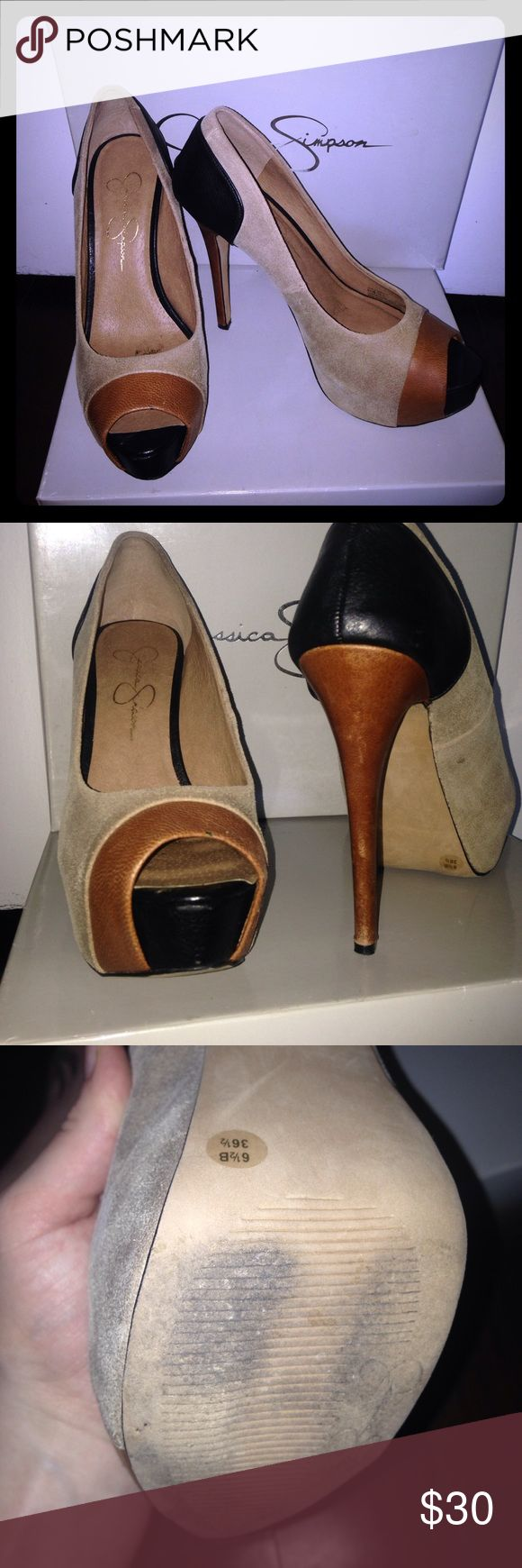 Jessica Simpson Pleasance Tan & Black pumps 6.5 Worn these beautiful pumps once to dinner & haven't worn them since! They're a size 6.5. They have been stored in the original box the whole time. They are made of suede and leather. Jessica Simpson Shoes Heels