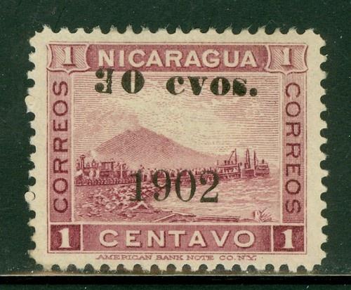 """Nicaragua 1900-1905: Scott #163VAR MNG 30c/1c Blk SCHG Momotombo BROKEN """"3"""""""