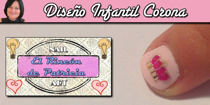 Diseño de uñas infantil de corona rosa de El rincón de Patri Nail Art. Sigue todos nuestros diseños de decoración de uñas en http://www.rincondepatri.com Pink Crown Nail Art