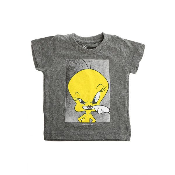 Little Eleven Paris Charcoal Tweety Tee (€67) ❤ liked on Polyvore featuring clothing kids and women