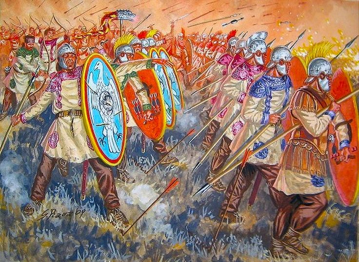 """Battle of Adrianople, 9 August 378"", Giuseppe Rava"