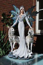 Elfe mit zwei Wölfe Fantasy Figur  Fairy Mystik Gothic Fee