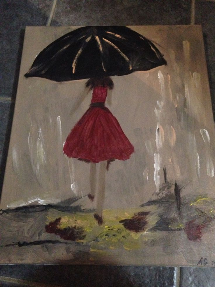 My very first painting. Walking in the rain!