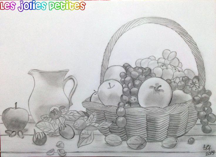 #Cesto di #frutta - #matita B e 2B su #cartoncino liscio, formato A4 #disegno #chiaroscuro #drawing #fruits #fabriano #staedtler #fabercastell #lesjoliespetites