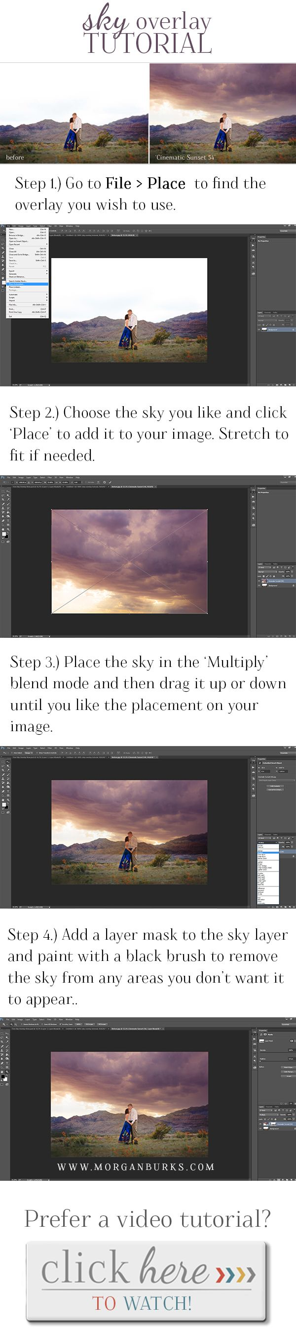 Easy to follow sky overlay tutorial! | Find more free tutorials at…