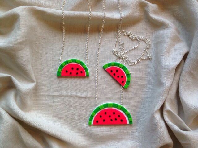 Handmade watermelon necklace from polymer clay. Large or small sizes available