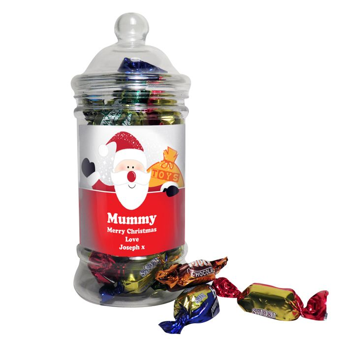 Personalised Santa Traditional Toffee Jar This classic shaped sweet jar is filled with delicious toffees and soft centres a great stocking filler