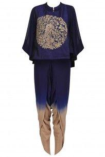 Navy Blue Peacock Embroidered Short Kurta and Dhoti Pants Set #vasavishah #shopnow #ppus #Happyshopping