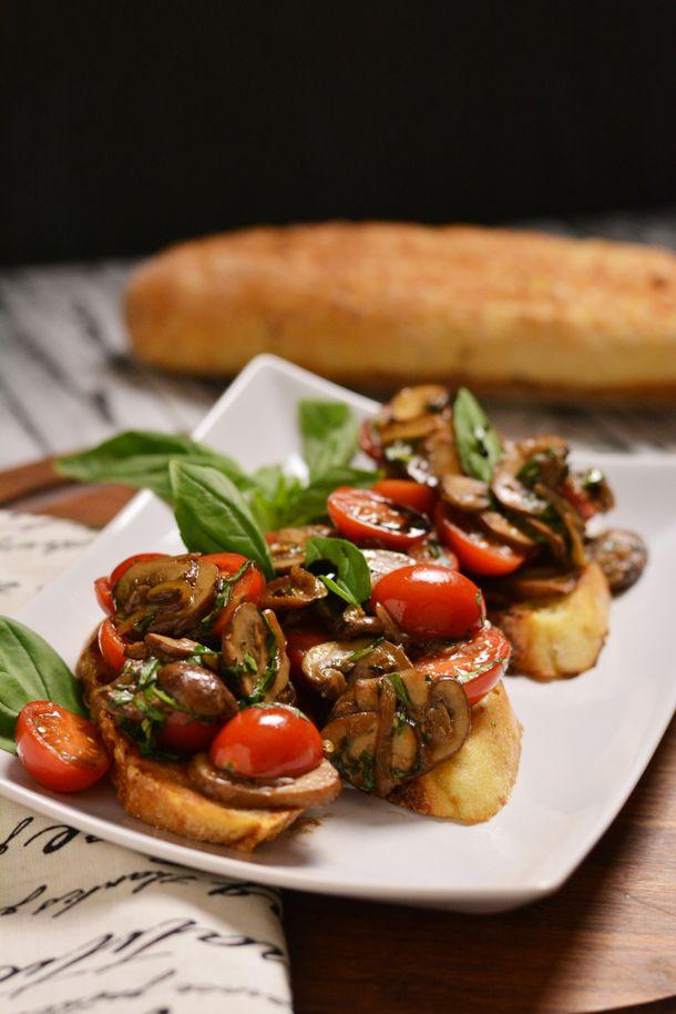Mushroom and Fresh Tomato Bruschetta