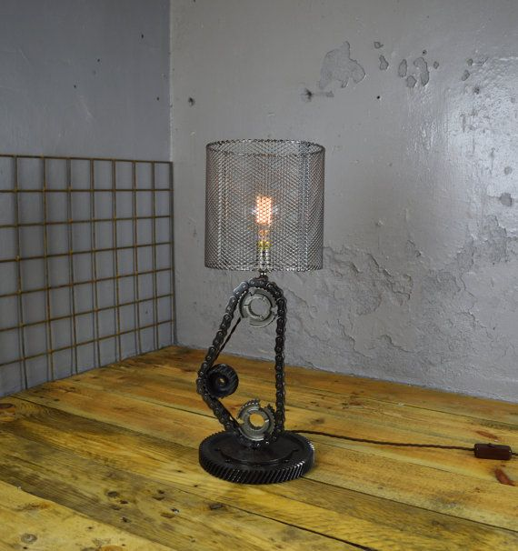 reclaimed 3 cog chain lamp custom hand made home by
