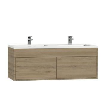Tiger Helsinki badkamermeubel 120 cm chalet eiken met wastafel polybeton hoogglans wit kopen? Verfraai je huis & tuin met Badkamermeubelen van KARWEI