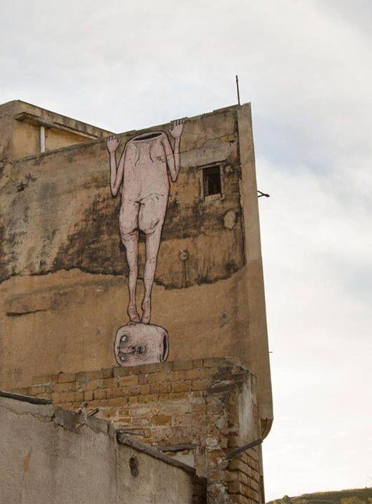 """Memo's, """"Ignorance"""" in Gibellina vecchia, Sicily, Italy, 2015"""