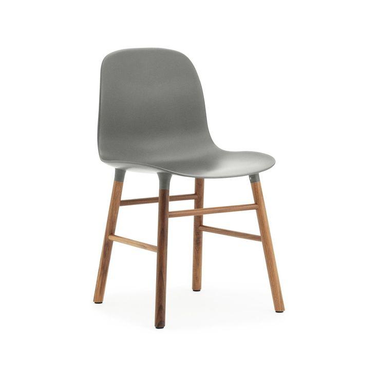 Form stol - grå, ben i valnöt