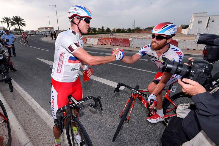 Gallery: 2015 #TourofQatar, #stage5 - Kristoff celebrated a successful team effort with Luca Paolini after winning stage 5. Photo: Tim De Waele   TDWsport.com