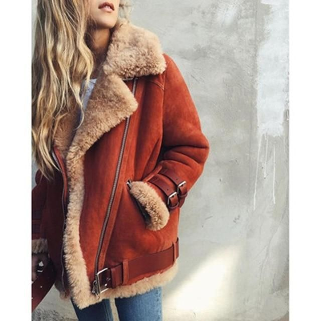 Women Lambs Wool Coat Pilot Leather Jacket