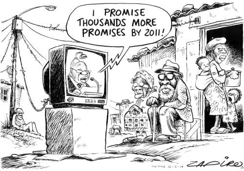 Zuma promises more jobs in his 2010 State of the Nation address.   www.zapiro.com