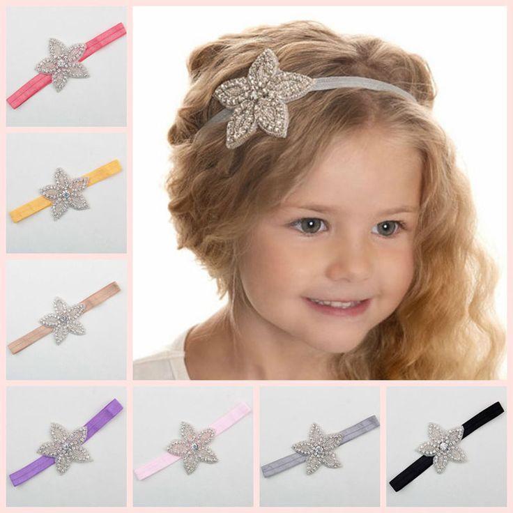 Children Baby Girls Rhinestone Flower Star Headband Hair bands Kids Girls wedding Party Hair Accessories Princess Headwear HB003
