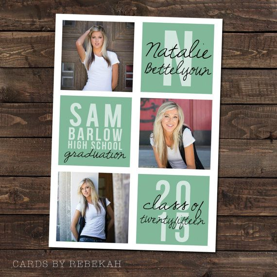 High School Graduation Announcement in mint with by CardsbyRebekah