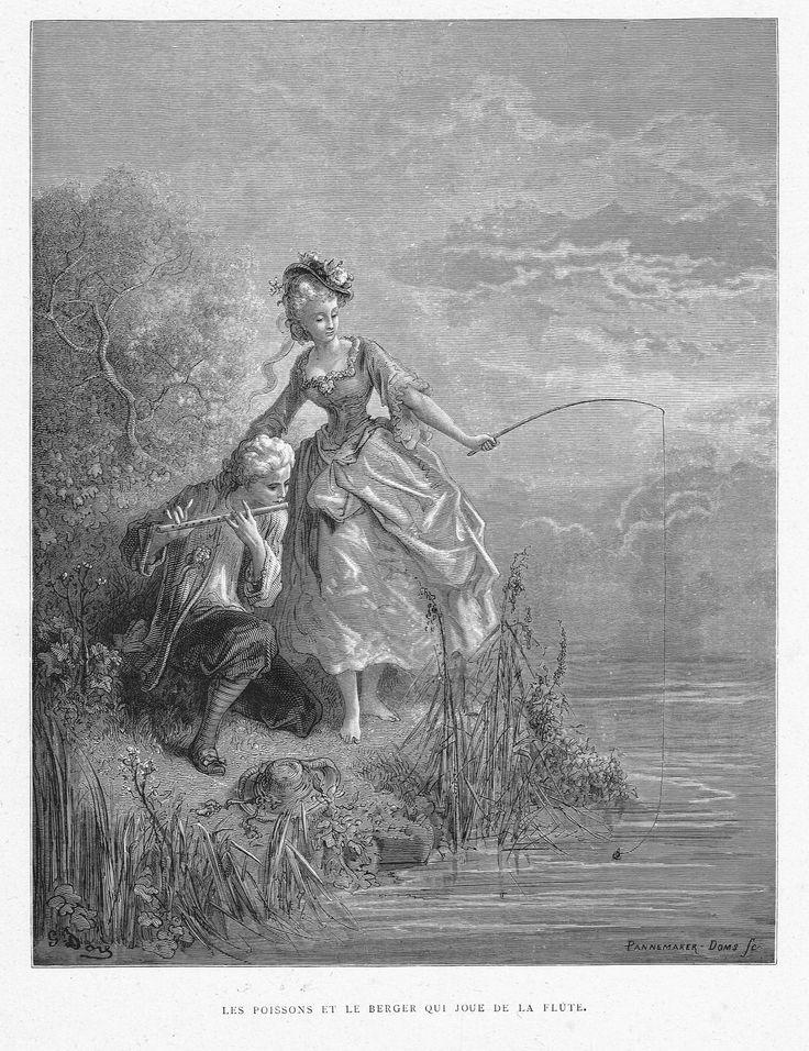'Les poissons et le berger qui joue de la flûte' by Gustave Doré, from the book 'Les fables de La Fontaine' by Jean de La Fontaine, 1866.