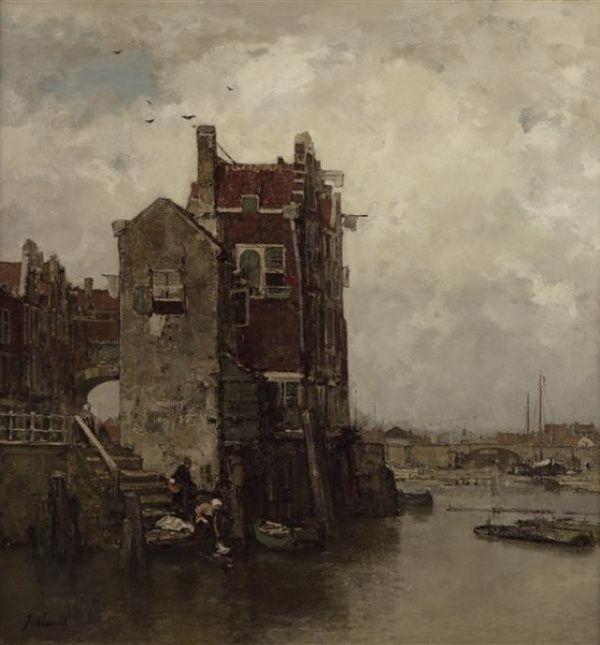 Jacob Maris - Oud Dordrecht ('t Oude huis)