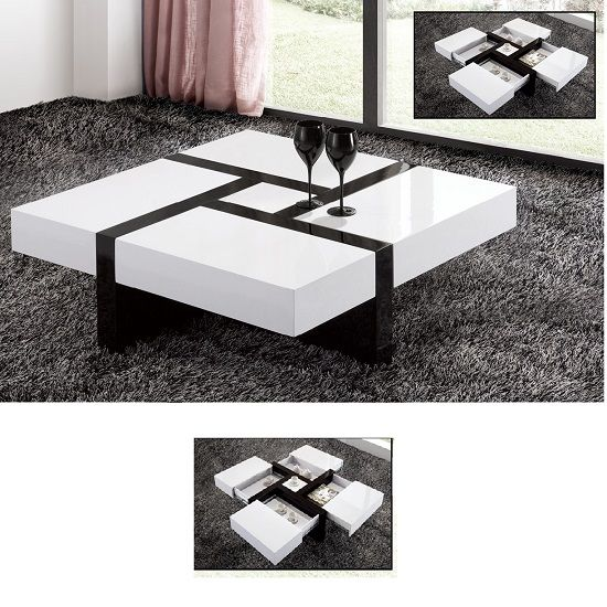 MDF cheap price coffee table white high gloss center table with drawer - from Alibaba.com