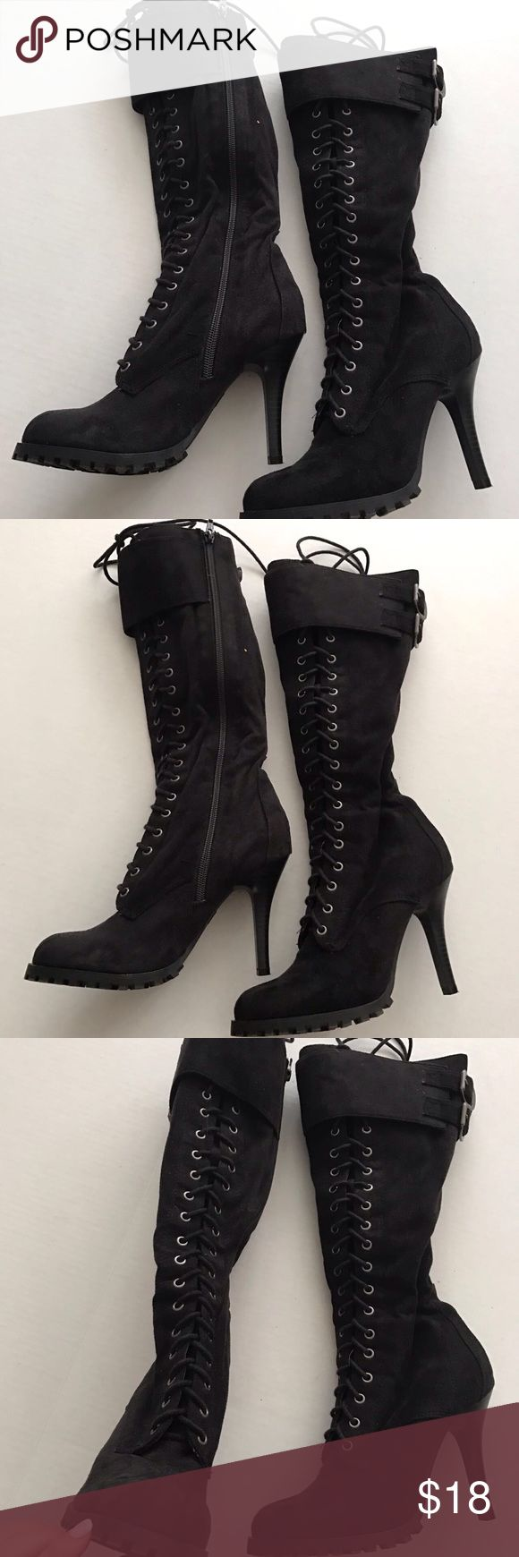 Lace up Boots Hits below the knee. Great condition. Zipper on the side. Uk style french connection French Connection Shoes Lace Up Boots