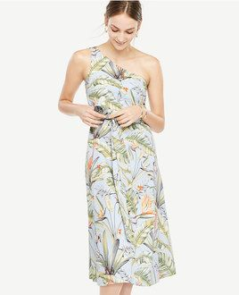 Palm Print one shoulder dress from Ann Taylor