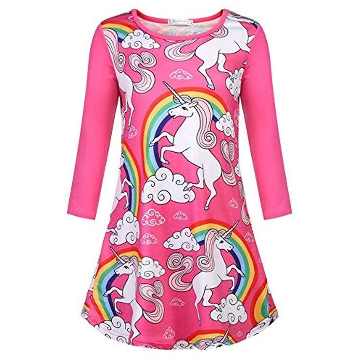 Mädchen Nachthemden Einhorn Kleid Nachtwäsche Langarm Rundkragen Nachthemd Sch…