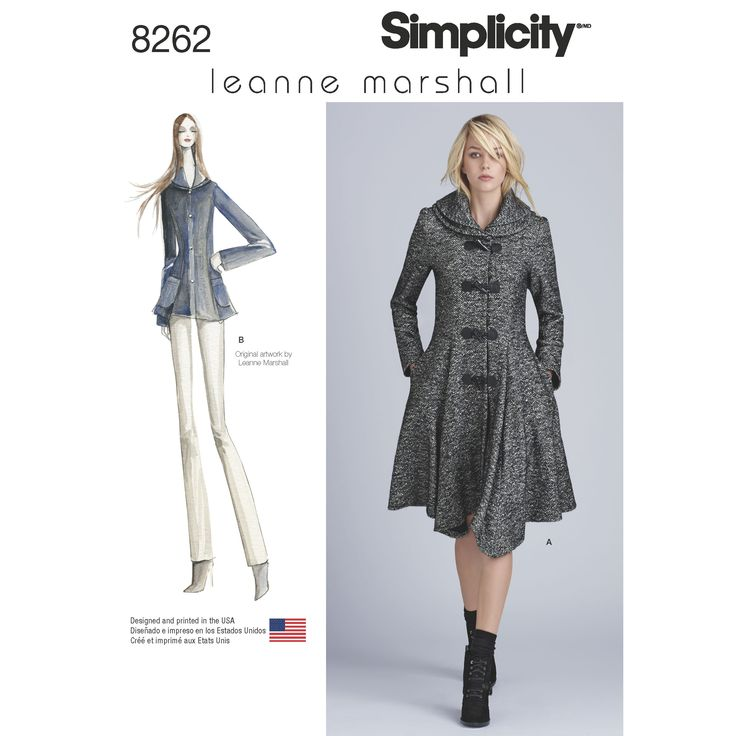 Simplicity Simplicity Pattern 8262 Leanne Marshall Coat or Jacket for Misses   8262