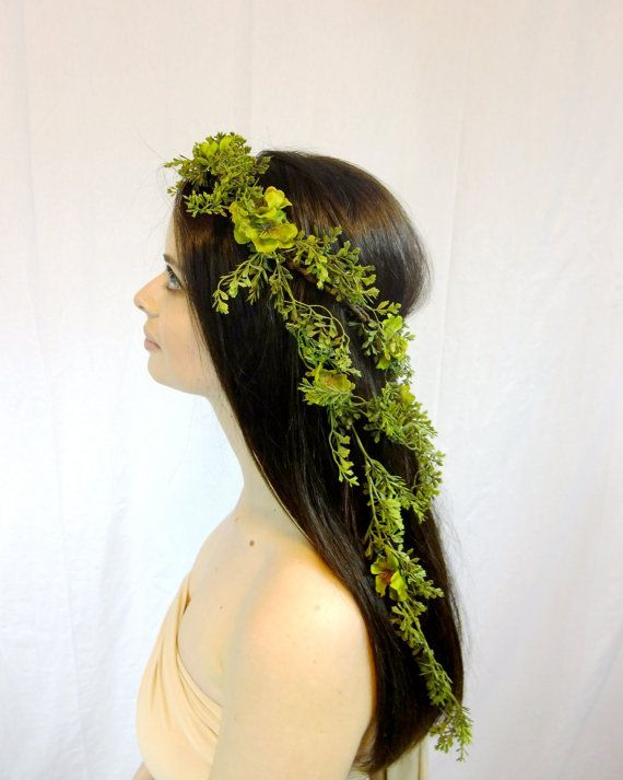 Green Fern Forest Elf Crown Elven Headdress by RuthNoreDesigns