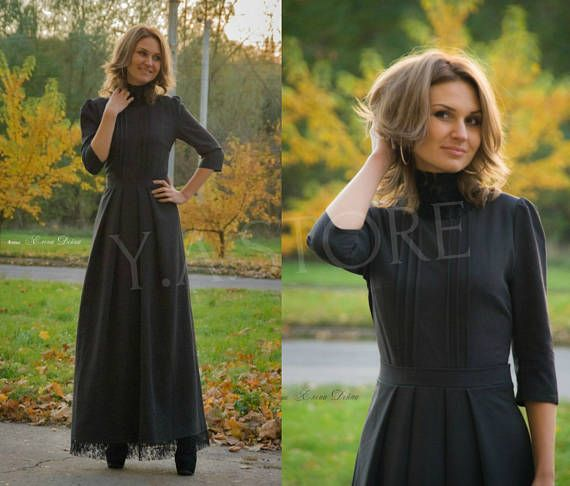 Vintage Gray Winter Maxi Dress Autumn Woman Long Dress with Black Lace