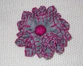 Handmade light grey felt flower brooch with fucshia threads