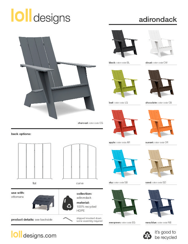 Available In 10 Environmentally Friendly Colors, The Flat Compact Resin  Adirondack Chair From Loll Designs