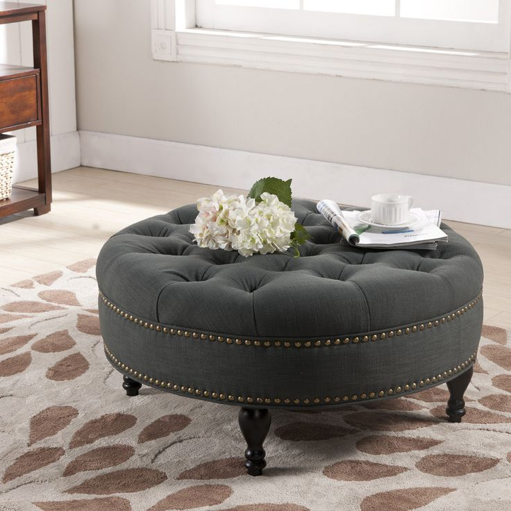 Baxton Studio Palfrey Gray Linen Modern Tufted Ottoman   Overstock™  Shopping   Great Deals On Baxton Studio Ottomans