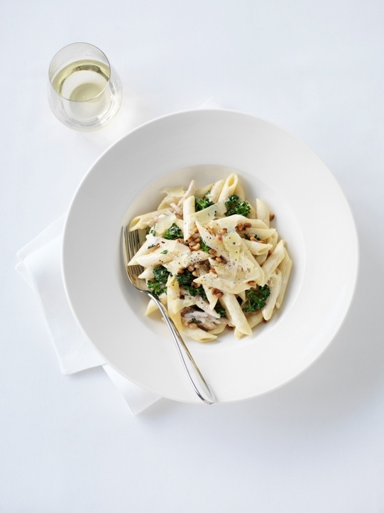 Penne with Blue Cheese, Crispy Bacon, Broccoli and Pine Nuts, available from The Waterfront Restaurant.