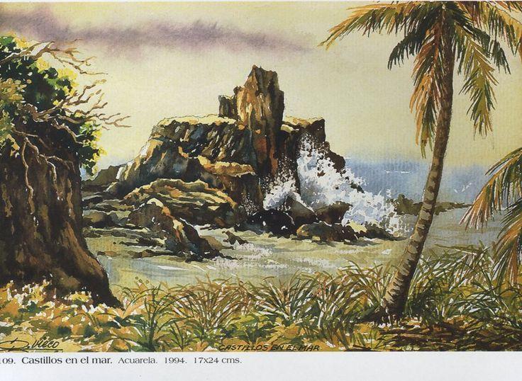 Castillos en el mar . Acuarela. 17x24 cms. 1994 Germán Vieco Betancur