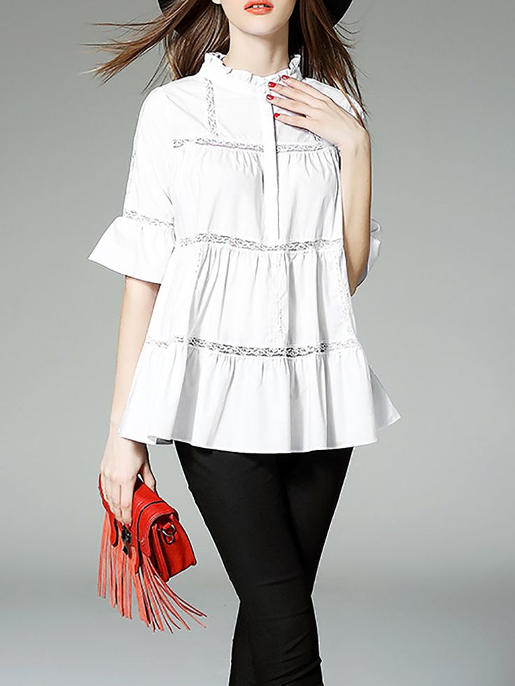 White Paneled A-line Cotton-blend Half Sleeve Blouse - StyleWe.com