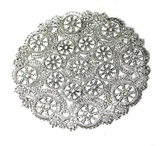 Silver Medallion Paper Doilies 25 doilies 8 inch by owlandthistle, $9.00