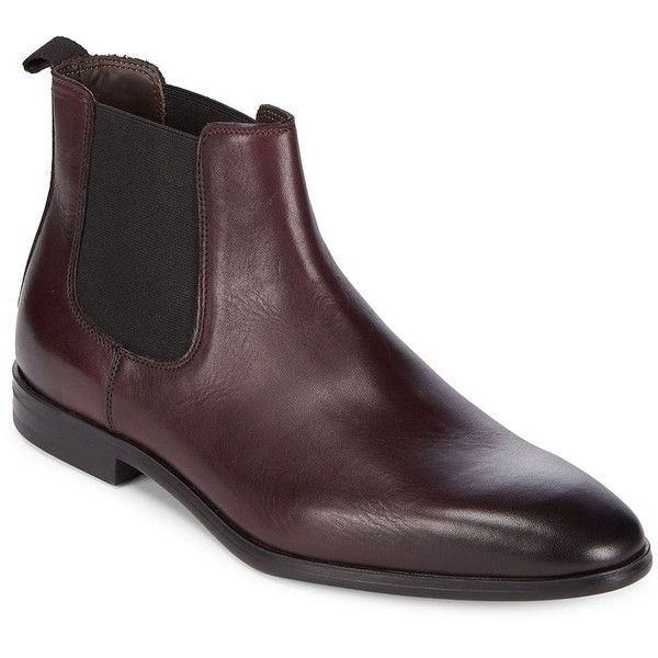 A. Testoni Men's Beatles Redle Leather Chelsea Boots ($365) ❤ liked on Polyvore featuring men's fashion, men's shoes, men's boots, black, mens leather chelsea boots, mens slip on boots, mens leather pull on boots, mens black chelsea boots and mens leather slip on shoes
