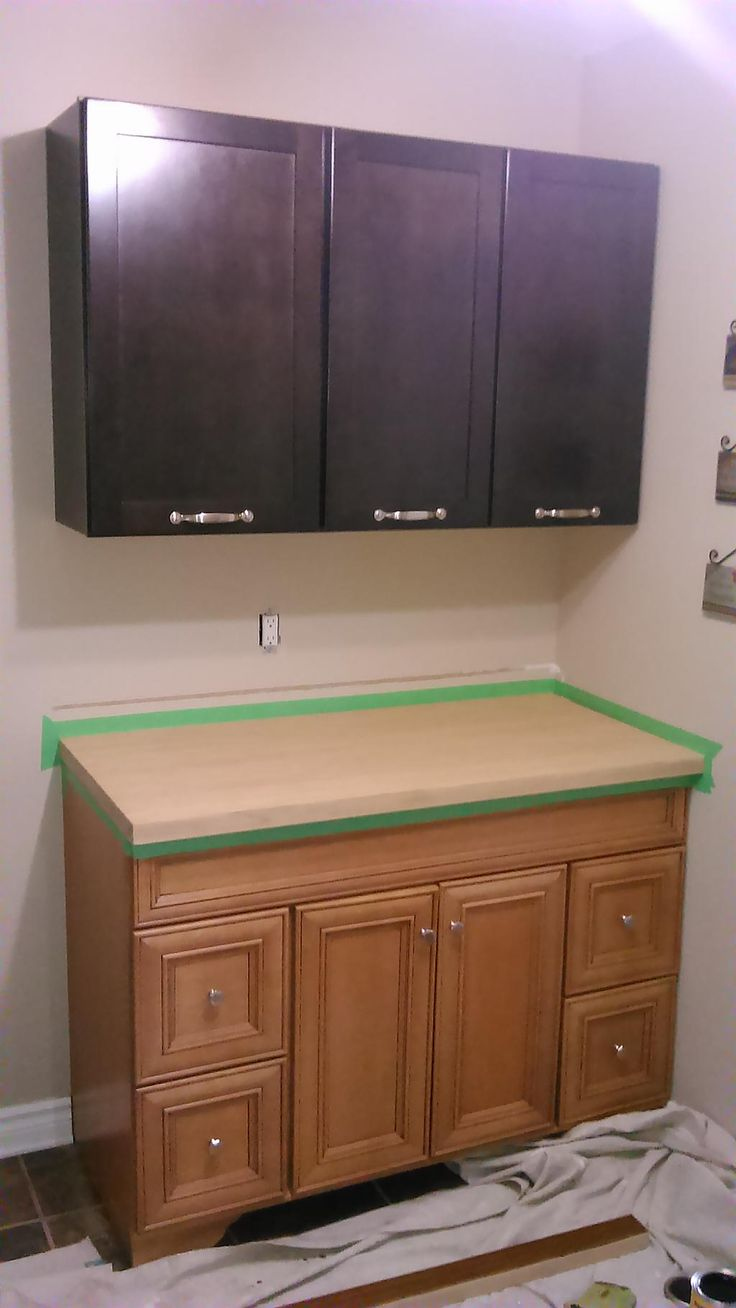 Laundry room set up, Bamboo countertop, before