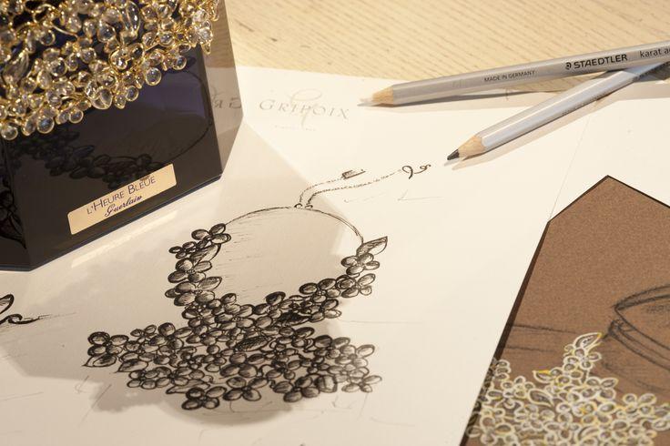 Guerlain X Gripoix   Design Process #guerlain #gripoix #collaboration #jewelry #design #drawing