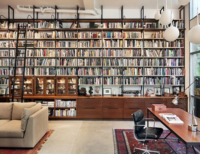 Library in artist live/work studio in Clinton Hill by BWArchitects via Remodelista