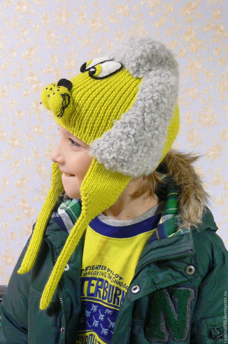 Купить Шапка вязаная спицами Собачка Пудель Салатовый - шапка с ушками, купить детскую шапку