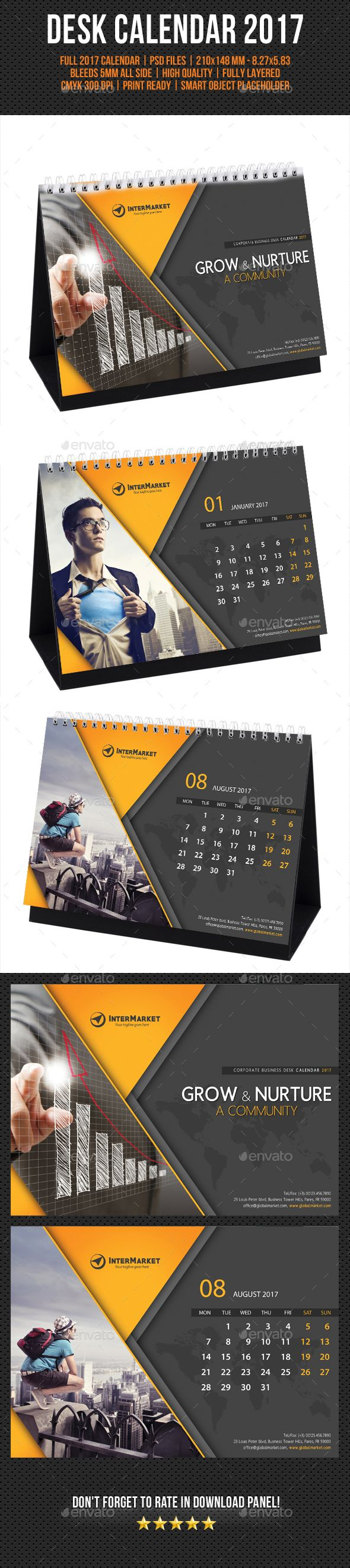 Corporate Desk Calendar 2017 Template PSD